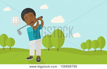 A african-american golf player hitting the ball in the field vector flat design illustration. Horizontal layout with a text space for a social media post.