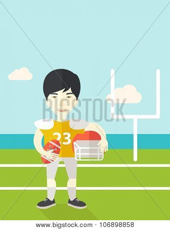 An asian rugby player with ball and helmet in hands standing on the stadium vector flat design illustration. Vertical poster layout with a text space.