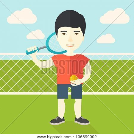 An asian big tennis player holding a tennis racket and a ball while standing on tennis court vector flat design illustration. Square layout.
