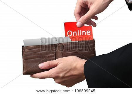 Businessman Hands Paying Money Online Concept On Brown Wallet.