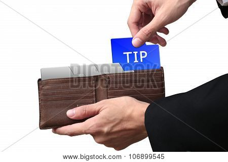 Businessman Hands Paying Tip Concept On Brown Wallet.