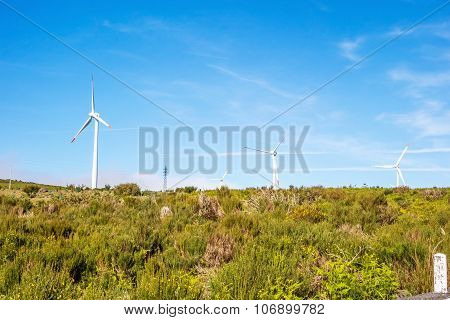 Wind Turbines Behind Hill Top