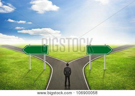 Businessman Concept, Blank Sign Post On Road The Correct Way.