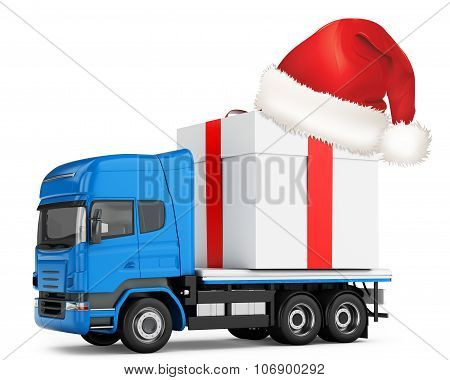 3D Generic Truck With Gift Box And Hat