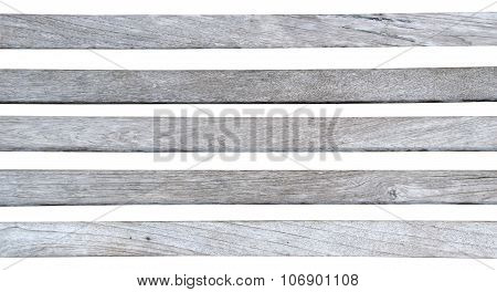 Gray white wood strip isolate on white background