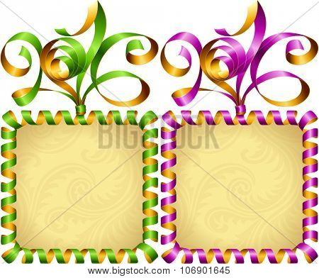 Vector New Year 2016 square frame set. Green and purple streamer