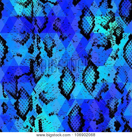 Snake Skin Texture  With Colored Rhombus. Geometric Background. Seamless Pattern Black Blue Backgrou