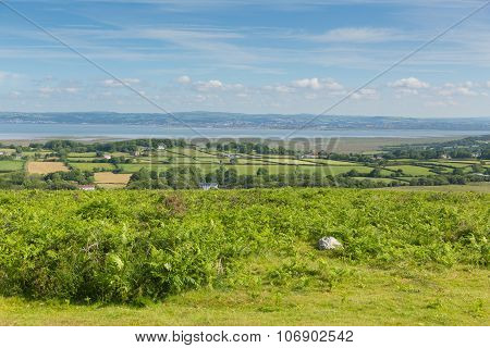 View from Cefn Bryn hill of The Gower peninsula South Wales UK near Reynoldston