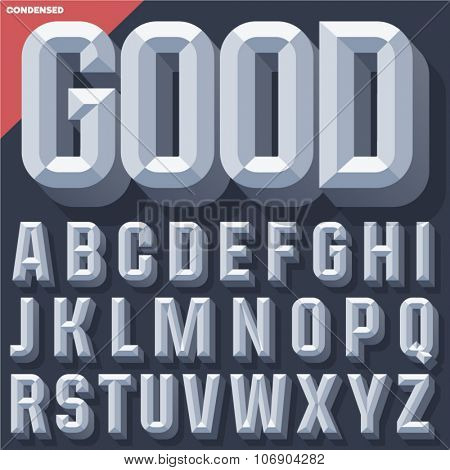 Vector 3D grey condense beveled alphabet with shadow. Simple colored version.