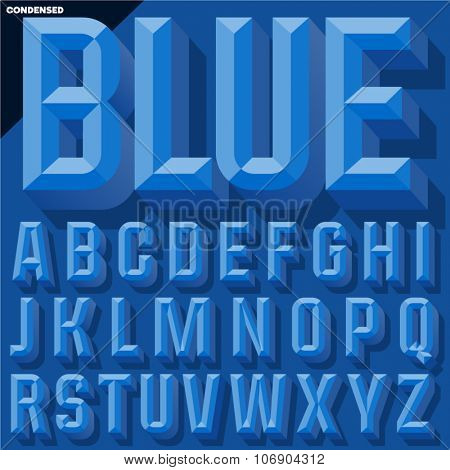 Vector 3D blue condense beveled alphabet with shadow. Simple colored version.