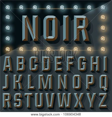 Vector 3D black condense beveled alphabet with shadow. Gothic  version with lamp.