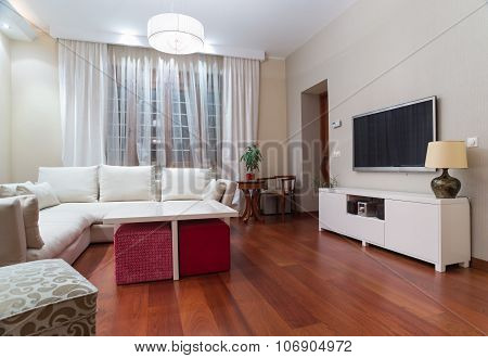 Luxury Living Room Interior - Evening Shot
