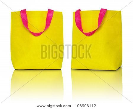 Yellow Shopping Bag On White Background