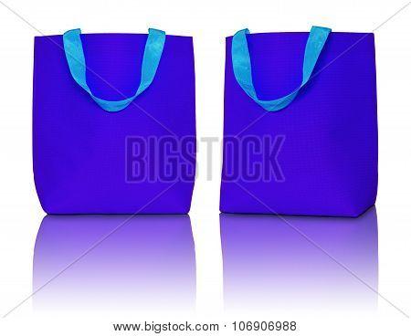 Blue Shopping Bag On White Background