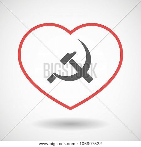 Line Hearth Icon With  The Communist Symbol