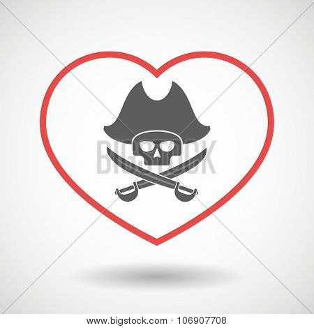 Line Hearth Icon With A Pirate Skull
