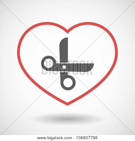 Line Hearth Icon With A Scissors