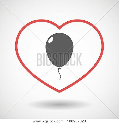 Line Hearth Icon With A Balloon