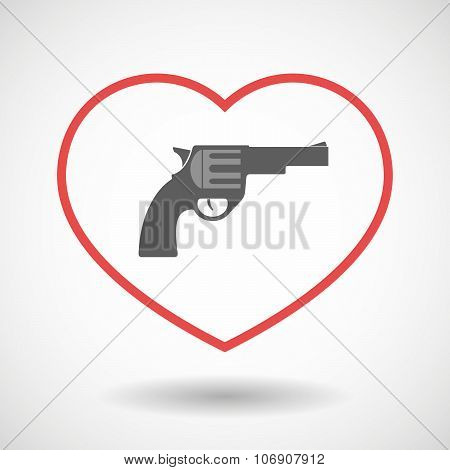 Line Hearth Icon With A Gun