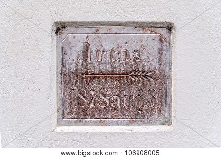 Sign On Wall Level Of Floods In 1878. Eger, Hungary