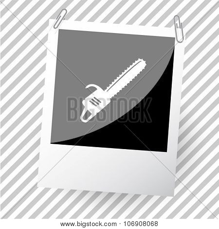 gasoline-powered saw. Photoframe. Vector icon.