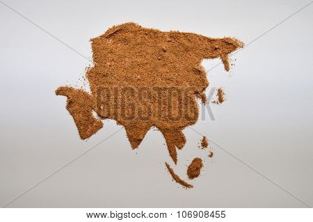Nutmeg in the shape of Asia