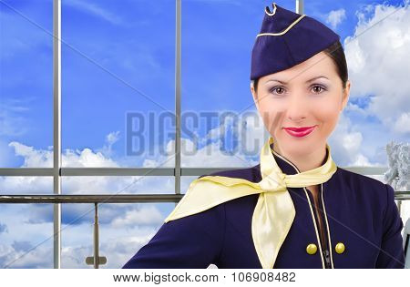 Portrait of stewardess at the airport