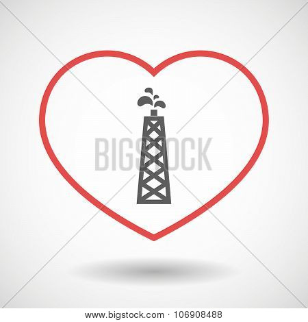 Line Hearth Icon With An Oil Tower