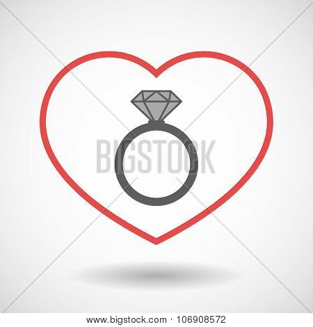 Line Hearth Icon With An Engagement Ring