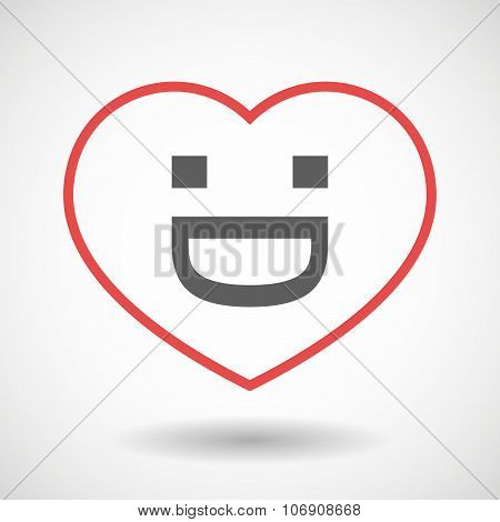 Line Hearth Icon With A Laughing Text Face