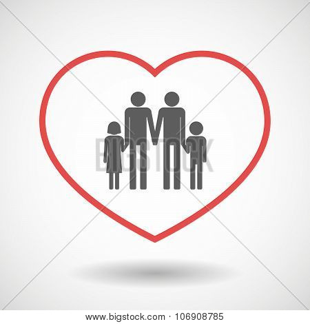 Line Hearth Icon With A Gay Parents  Family Pictogram