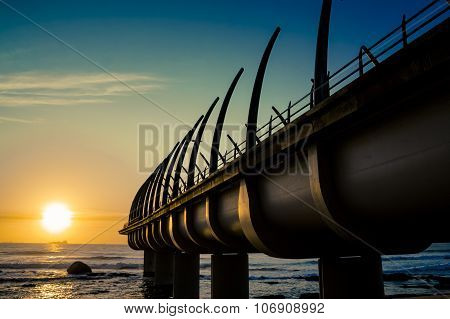 Umhlanga Pier In Durban South Africa With Sunrise