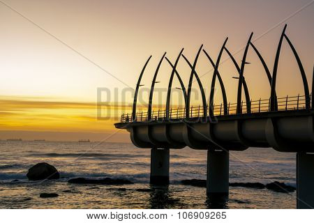 Umhlanga Pier In Durban South Arfica In Sunrise