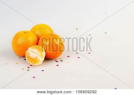 Mandarin With Stars Isolated. Christmas Concept