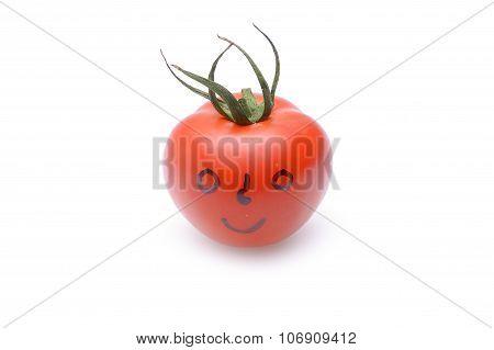Funny Tomato On White