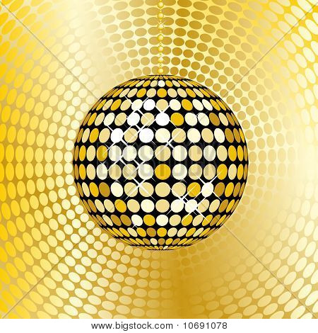 Abstract Gold Disco Ball