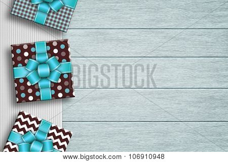 Presents Lying On Tablecloth With Place For Text