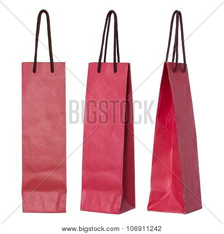 Red Paper Bag For Wine Bottles Isolated On White