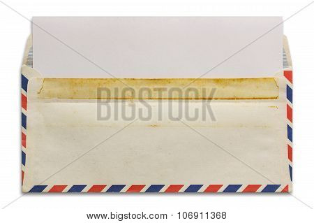 Open Old Airmail Envelope With Blank Letter Isolated On White Background