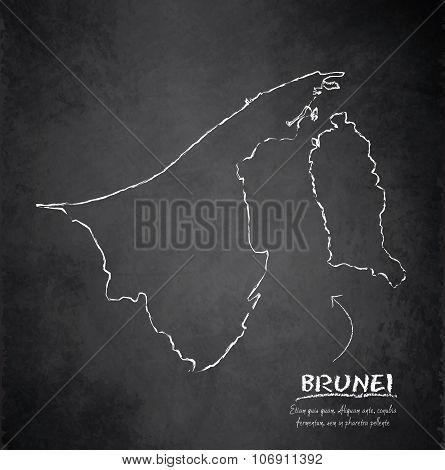 Brunei map blackboard chalkboard vector