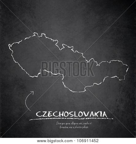 Czechoslovakia map blackboard chalkboard vector