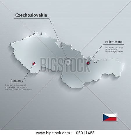 Czechoslovakia map flag glass card paper 3D vector