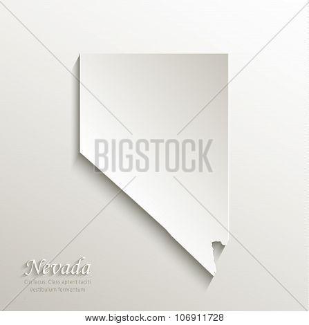Nevada map card paper 3D natural vector
