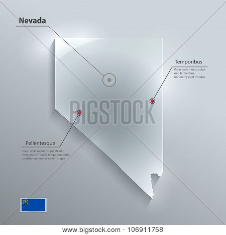 Nevada map flag glass card paper 3D vector