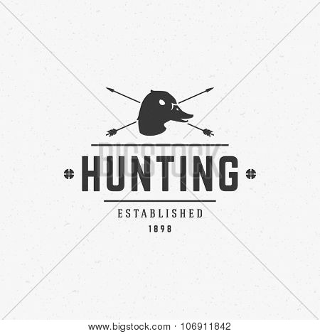 Hunting Club Vintage Logo Template Emblem. Cross Arrows and Duck Head Silhouette. Label or Badge for Advertising, Hunter Equipment and other Design. Retro Style Vector Illustration.