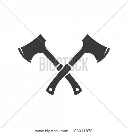 Lumberjack axes crossed Isolated On White Background Vector object for Labels, Badges, Logos  and other Design.