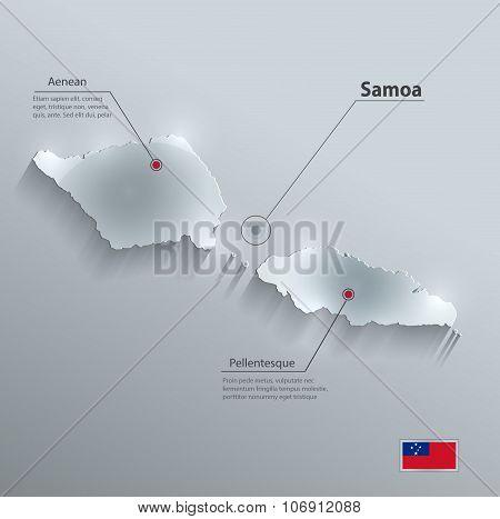 Samoa map flag glass card paper 3D vector