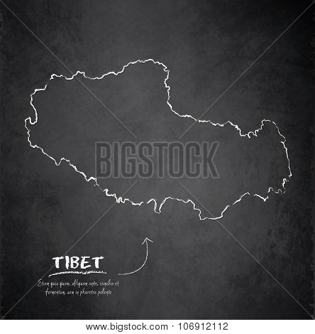 Tibet map blackboard chalkboard vector