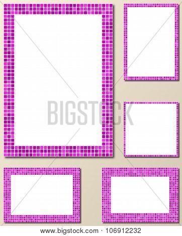 Magenta mosaic page border frame set