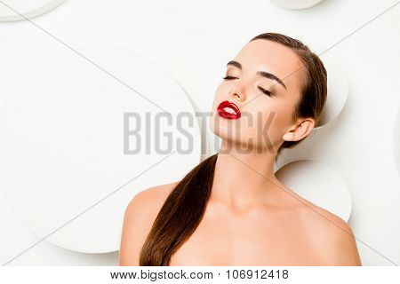 Fashionable Glamorous Girl With Red Lips Closing Eyes